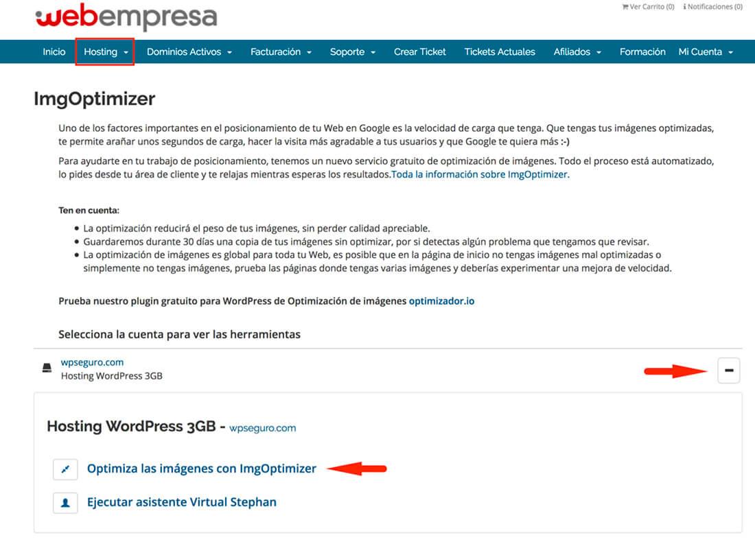 Área Cliente Webempresa